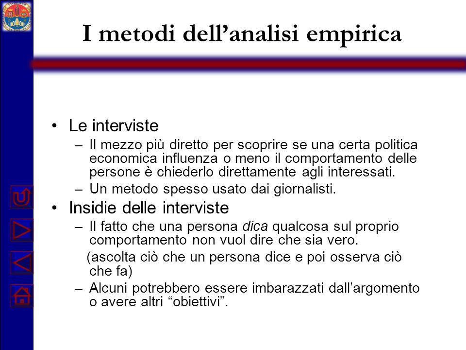 I metodi dell'analisi empirica Le interviste –Il mezzo più diretto per scoprire se una certa politica economica influenza o meno il comportamento dell