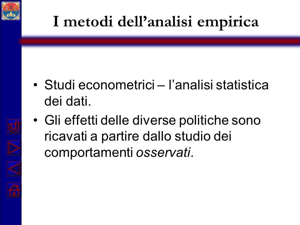 I metodi dell'analisi empirica Studi econometrici – l'analisi statistica dei dati. Gli effetti delle diverse politiche sono ricavati a partire dallo s