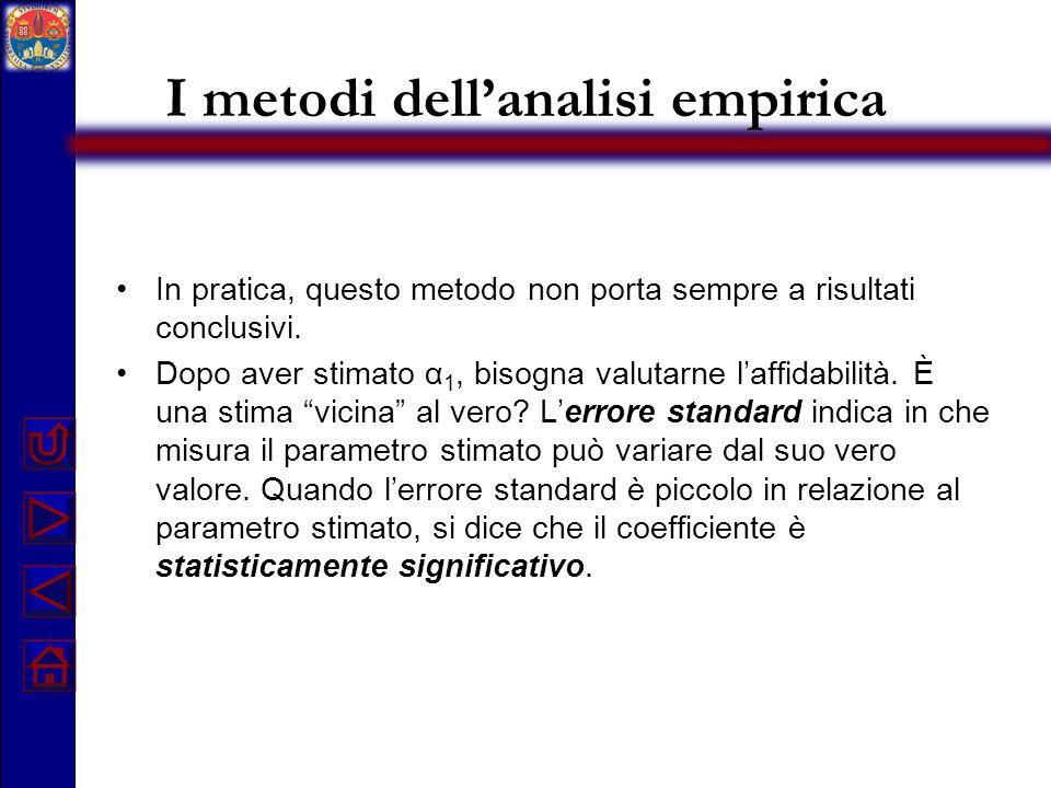 I metodi dell'analisi empirica In pratica, questo metodo non porta sempre a risultati conclusivi. Dopo aver stimato α 1, bisogna valutarne l'affidabil