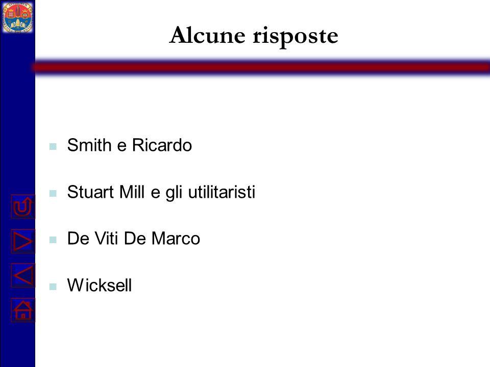 Alcune risposte Smith e Ricardo Stuart Mill e gli utilitaristi De Viti De Marco Wicksell