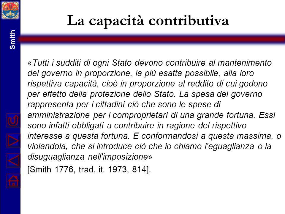 La capacità contributiva «Tutti i sudditi di ogni Stato devono contribuire al mantenimento del governo in proporzione, la più esatta possibile, alla l
