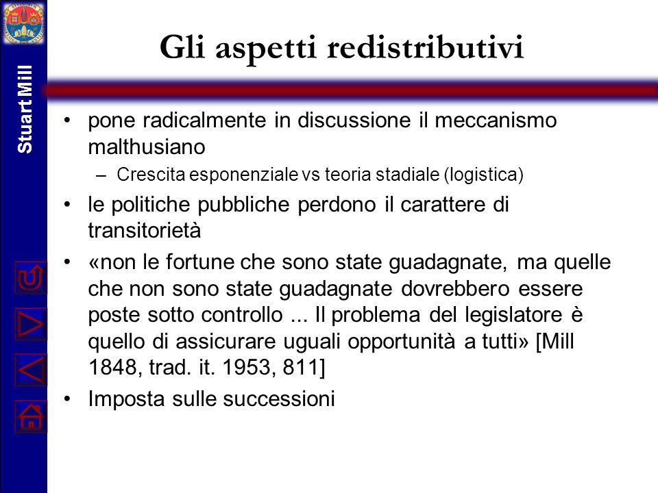 Gli aspetti redistributivi pone radicalmente in discussione il meccanismo malthusiano –Crescita esponenziale vs teoria stadiale (logistica) le politic