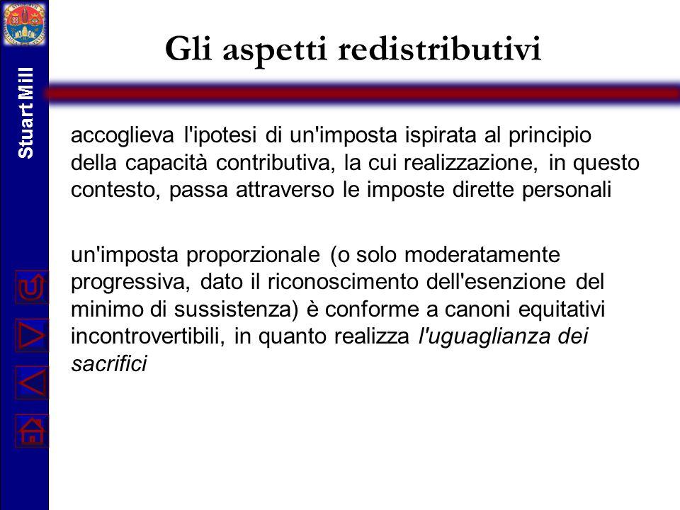 Gli aspetti redistributivi accoglieva l'ipotesi di un'imposta ispirata al principio della capacità contributiva, la cui realizzazione, in questo conte