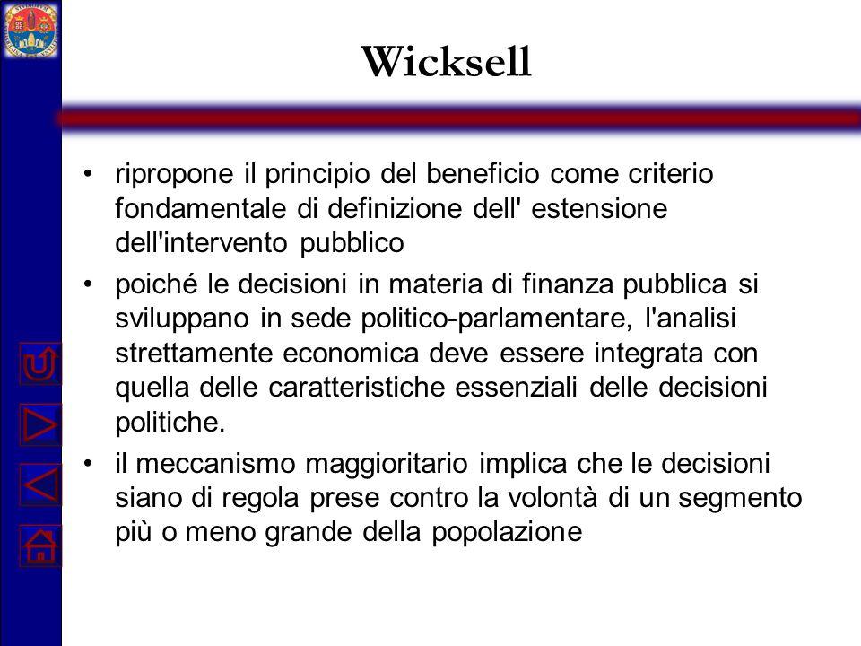 Wicksell ripropone il principio del beneficio come criterio fondamentale di definizione dell' estensione dell'intervento pubblico poiché le decisioni