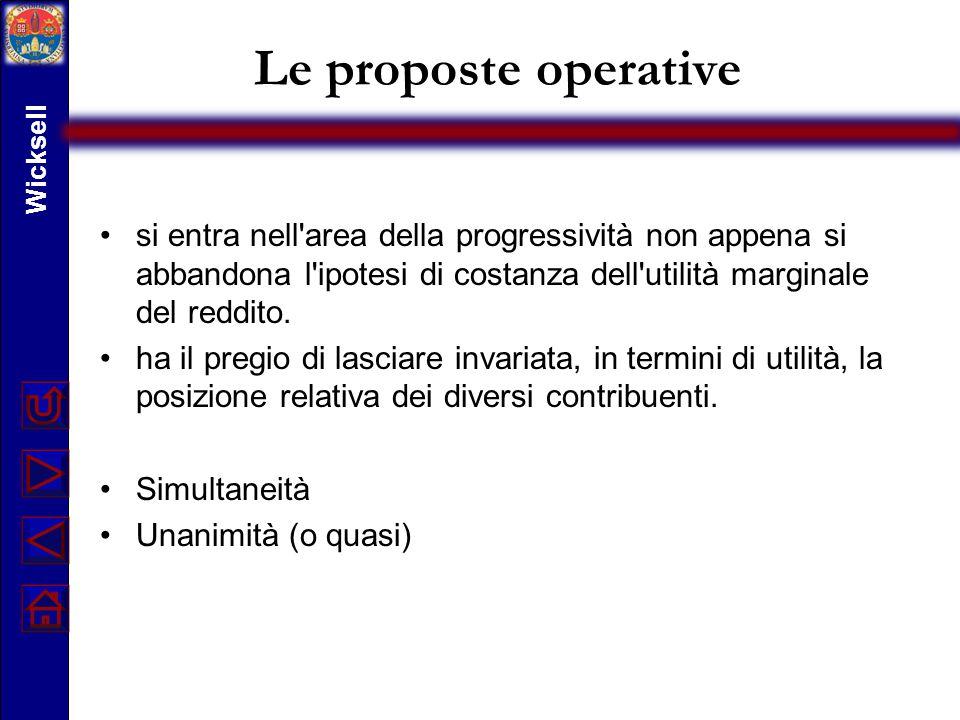 Le proposte operative si entra nell'area della progressività non appena si abbandona l'ipotesi di costanza dell'utilità marginale del reddito. ha il p