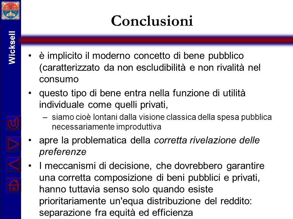Conclusioni è implicito il moderno concetto di bene pubblico (caratterizzato da non escludibilità e non rivalità nel consumo questo tipo di bene entra