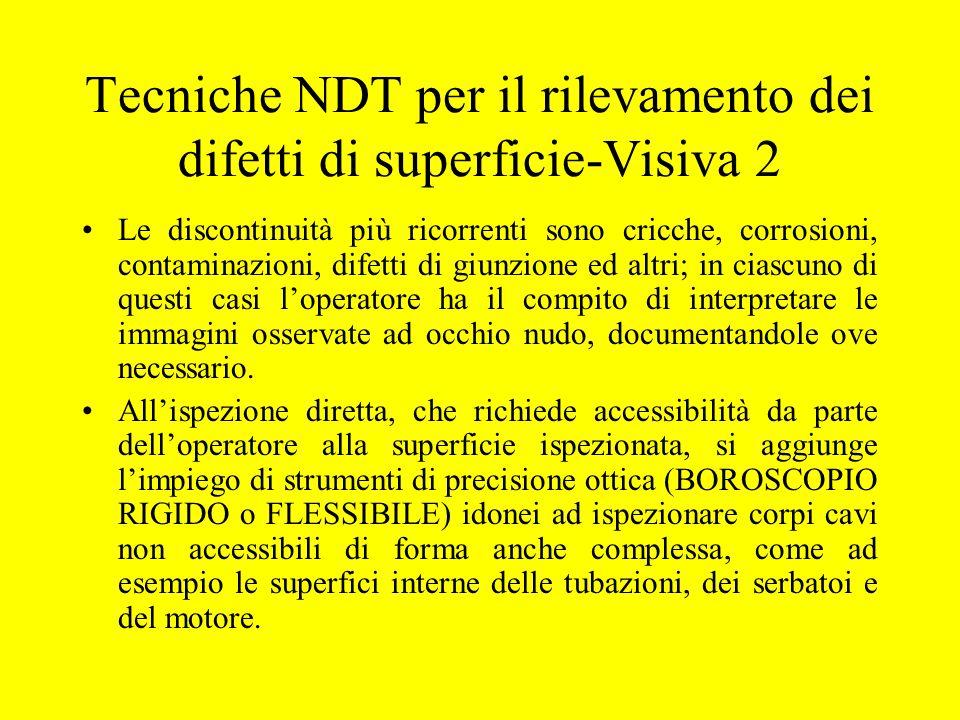 Tecniche NDT per il rilevamento dei difetti di superficie-Visiva 2 Le discontinuità più ricorrenti sono cricche, corrosioni, contaminazioni, difetti d