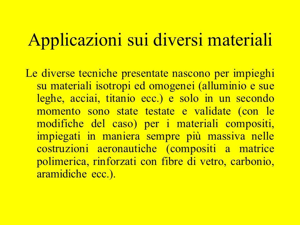 Applicazioni sui diversi materiali Le diverse tecniche presentate nascono per impieghi su materiali isotropi ed omogenei (alluminio e sue leghe, accia