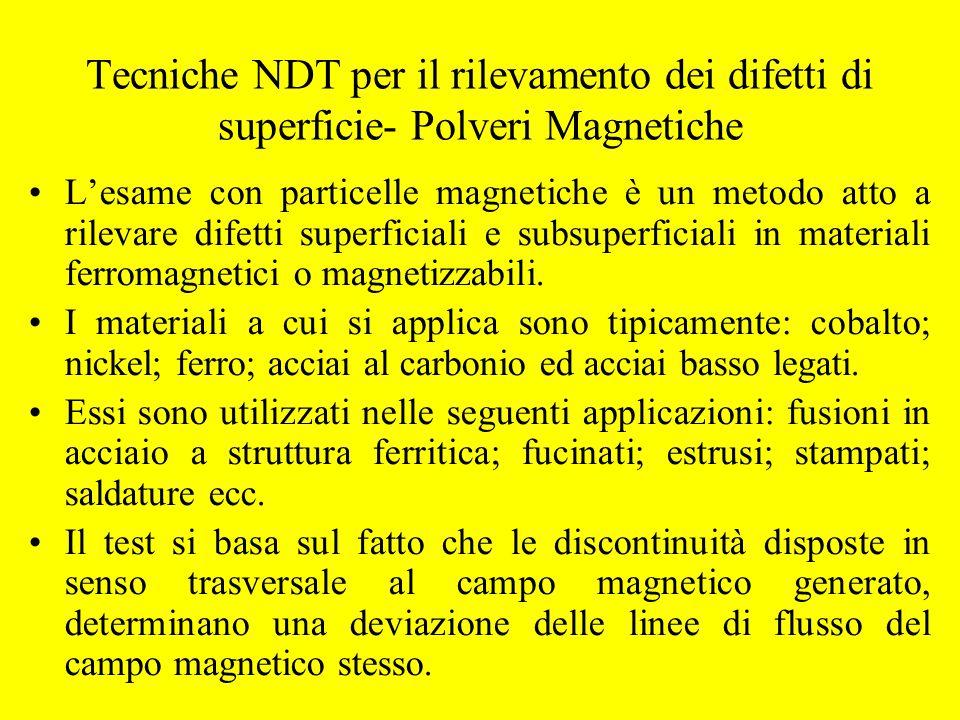Tecniche NDT per il rilevamento dei difetti di superficie- Polveri Magnetiche L'esame con particelle magnetiche è un metodo atto a rilevare difetti su