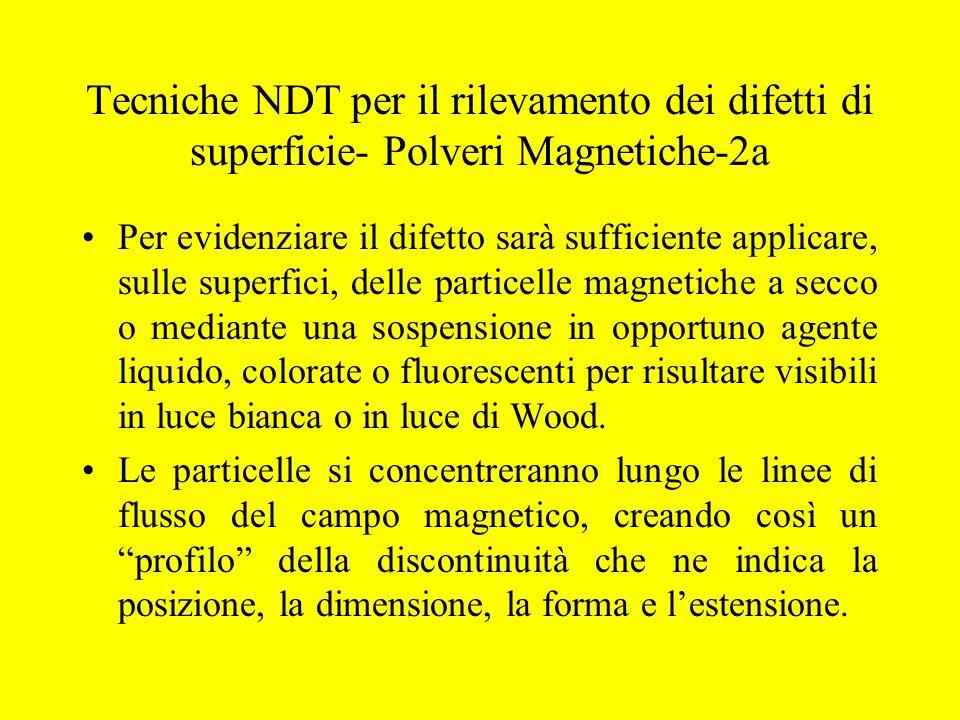 Tecniche NDT per il rilevamento dei difetti di superficie- Polveri Magnetiche-2a Per evidenziare il difetto sarà sufficiente applicare, sulle superfic