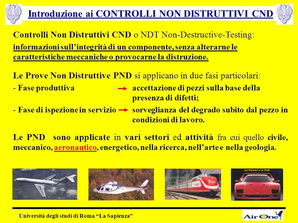 Controlli Non Distruttivi CND o NDT Non-Destructive-Testing: informazioni sull'integrità di un componente, senza alterarne le caratteristiche meccanic
