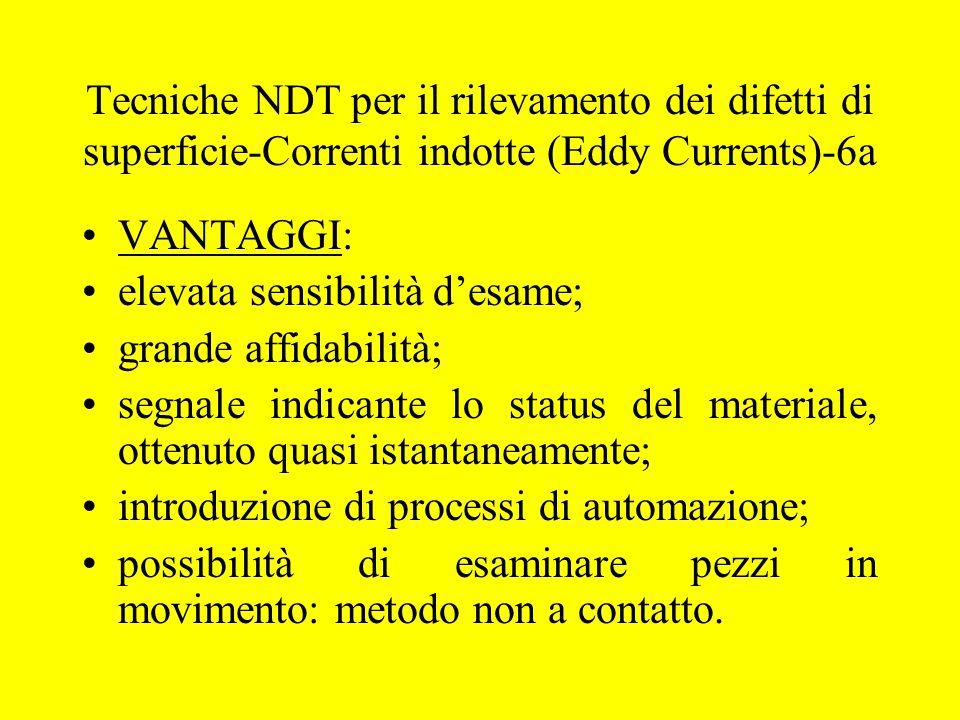 Tecniche NDT per il rilevamento dei difetti di superficie-Correnti indotte (Eddy Currents)-6a VANTAGGI: elevata sensibilità d'esame; grande affidabili