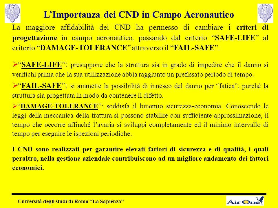"""La maggiore affidabilità dei CND ha permesso di cambiare i criteri di progettazione in campo aeronautico, passando dal criterio """"SAFE-LIFE"""" al criteri"""
