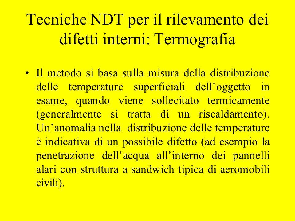 Tecniche NDT per il rilevamento dei difetti interni: Termografia Il metodo si basa sulla misura della distribuzione delle temperature superficiali del