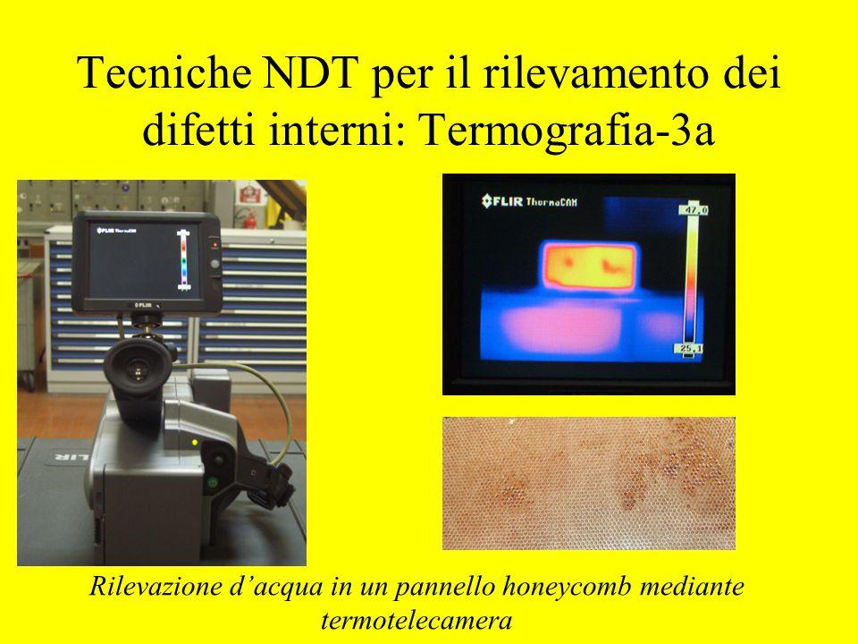 Tecniche NDT per il rilevamento dei difetti interni: Termografia-3a Rilevazione d'acqua in un pannello honeycomb mediante termotelecamera