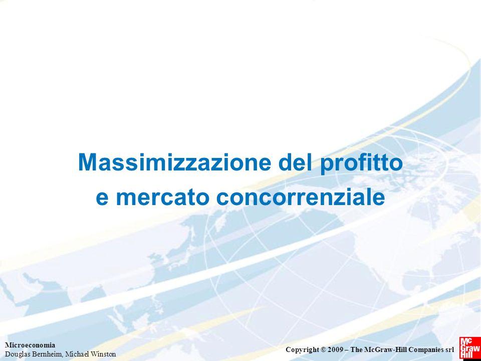 Microeconomia Douglas Bernheim, Michael Winston Copyright © 2009 – The McGraw-Hill Companies srl Massimizzazione del profitto e mercato concorrenziale