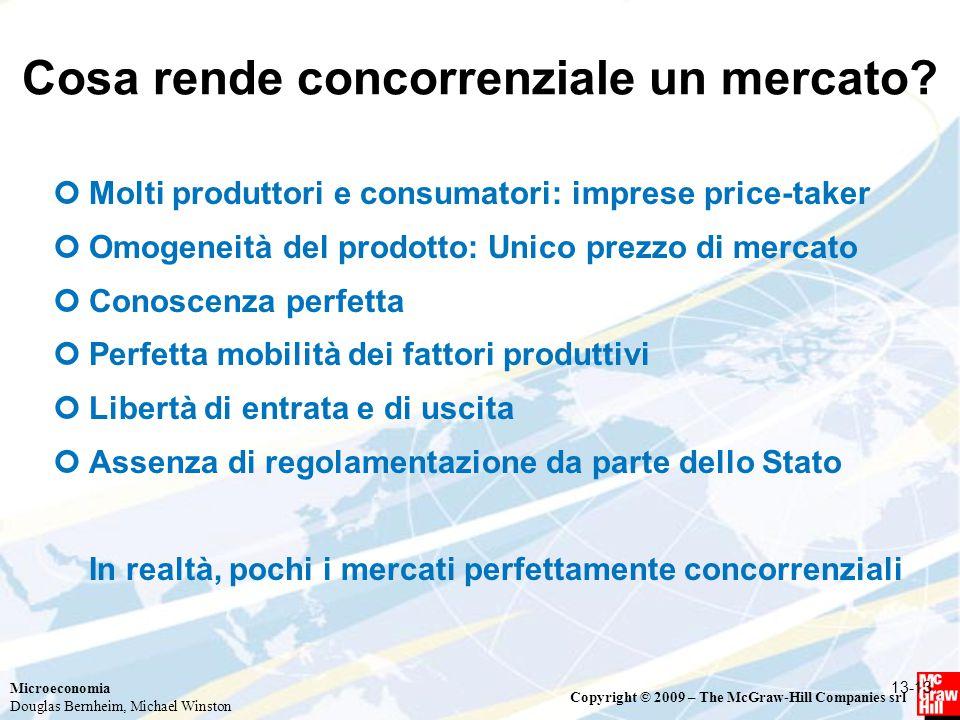 Microeconomia Douglas Bernheim, Michael Winston Copyright © 2009 – The McGraw-Hill Companies srl Cosa rende concorrenziale un mercato? Molti produttor
