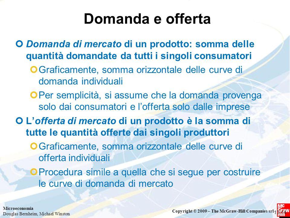 Microeconomia Douglas Bernheim, Michael Winston Copyright © 2009 – The McGraw-Hill Companies srl Domanda e offerta Domanda di mercato di un prodotto: