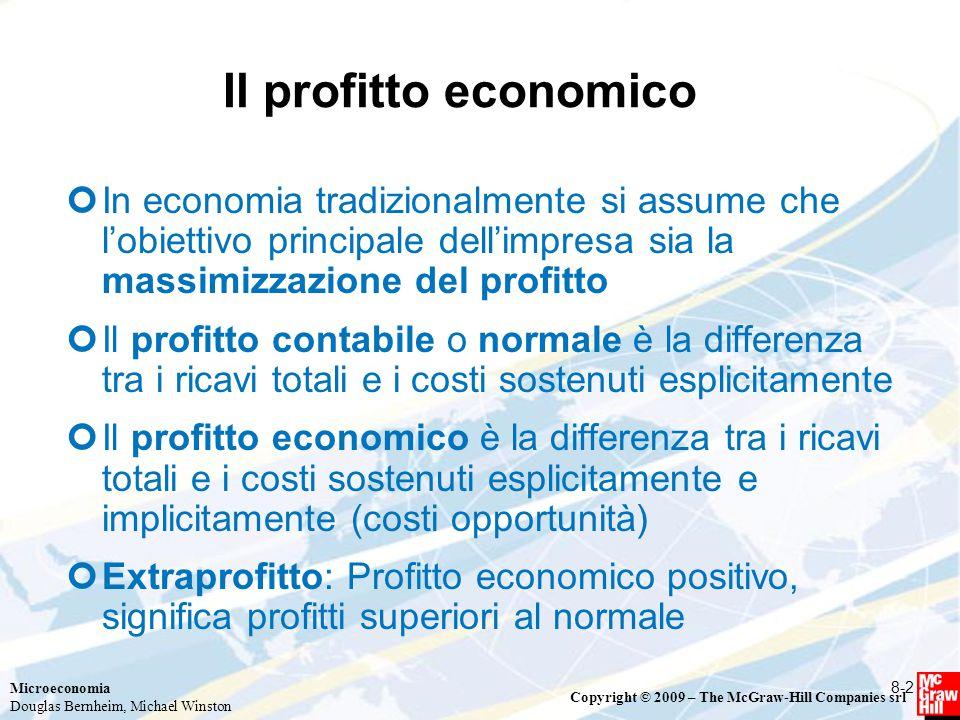 Microeconomia Douglas Bernheim, Michael Winston Copyright © 2009 – The McGraw-Hill Companies srl Prezzi e quantità che massimizzano il profitto I profitti (P) di un'impresa corrispondono alla differenza fra i ricavi ed i costi di produzione: P = R – C Massimizzazione dei profitti: Il beneficio derivante dalla vendita dell'output è dato dai ricavi dell'impresa, pari a R(Q) = P(Q)Q I costi connessi a tale attività riguardano il costo di produzione dell'impresa C(Q) Nel complesso: P = R(Q) – C(Q) = P(Q)Q – C(Q) In termini grafici: trovare la distanza massima tra la retta del ricavo (TR) e la curva del costo (TC) 8-3