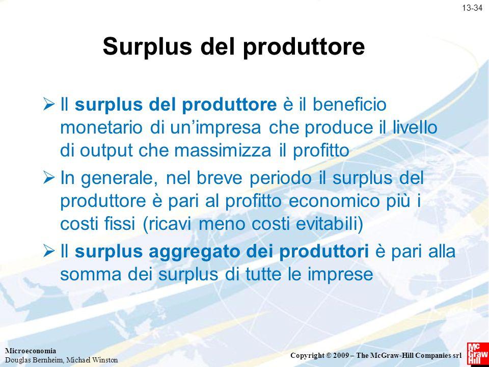 Microeconomia Douglas Bernheim, Michael Winston Copyright © 2009 – The McGraw-Hill Companies srl Surplus del produttore  Il surplus del produttore è