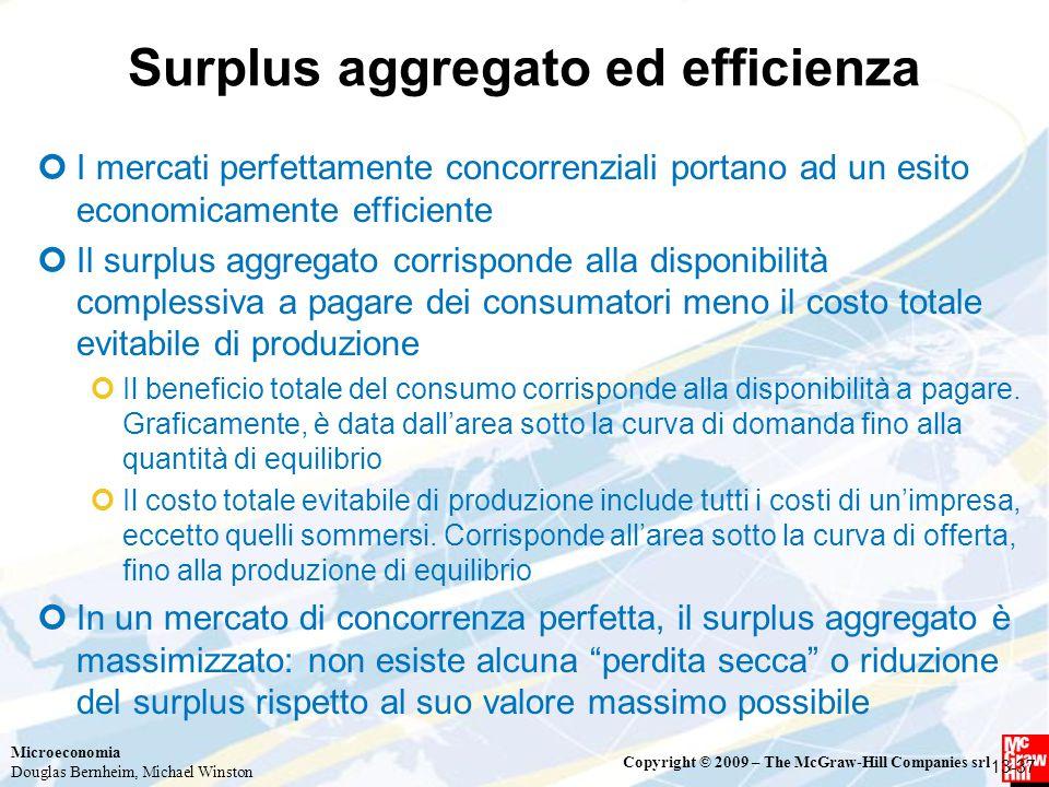 Microeconomia Douglas Bernheim, Michael Winston Copyright © 2009 – The McGraw-Hill Companies srl Surplus aggregato ed efficienza I mercati perfettamen