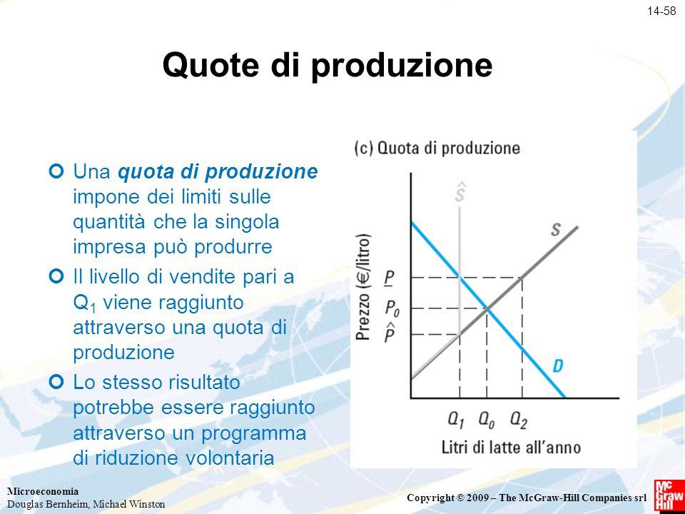 Microeconomia Douglas Bernheim, Michael Winston Copyright © 2009 – The McGraw-Hill Companies srl Quote di produzione Una quota di produzione impone de