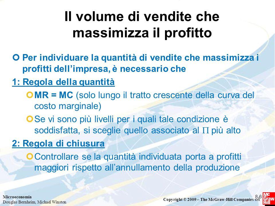 Microeconomia Douglas Bernheim, Michael Winston Copyright © 2009 – The McGraw-Hill Companies srl Il volume di vendite che massimizza il profitto Per i