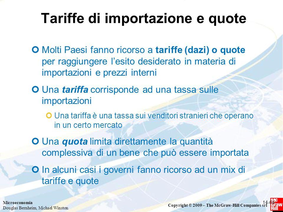Microeconomia Douglas Bernheim, Michael Winston Copyright © 2009 – The McGraw-Hill Companies srl Tariffe di importazione e quote Molti Paesi fanno ric