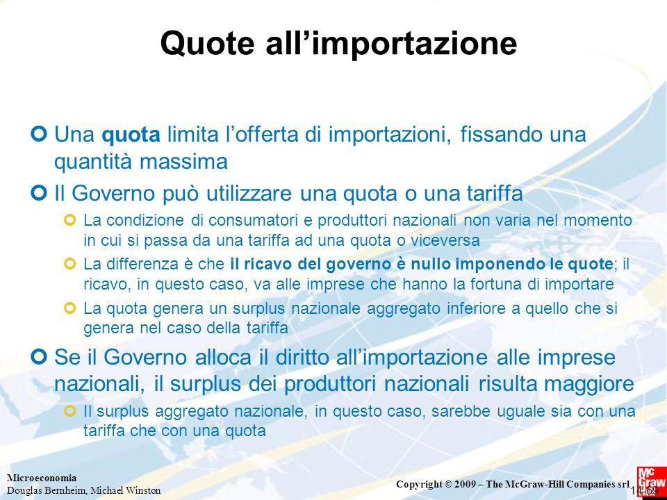 Microeconomia Douglas Bernheim, Michael Winston Copyright © 2009 – The McGraw-Hill Companies srl Quote all'importazione Una quota limita l'offerta di