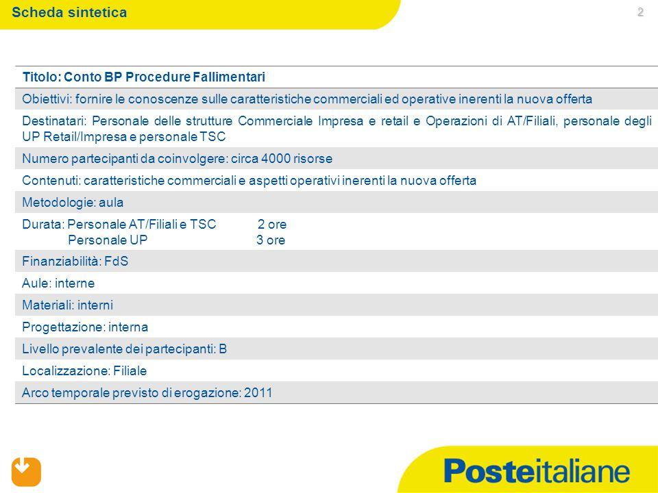 2 Scheda sintetica Titolo: Conto BP Procedure Fallimentari Obiettivi: fornire le conoscenze sulle caratteristiche commerciali ed operative inerenti la
