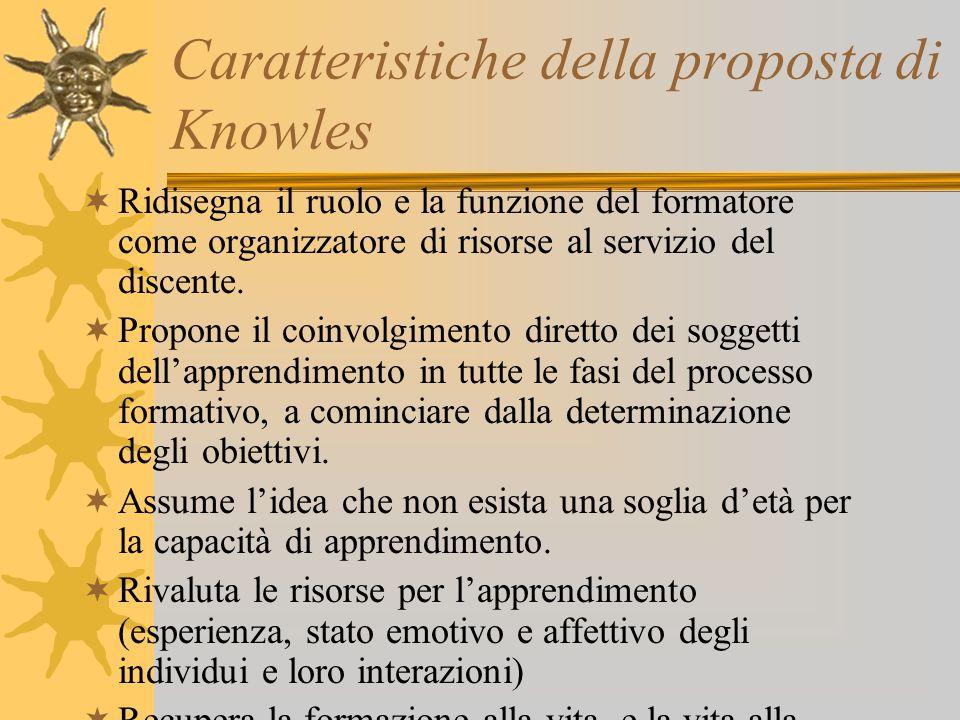 Caratteristiche della proposta di Knowles  Ridisegna il ruolo e la funzione del formatore come organizzatore di risorse al servizio del discente.