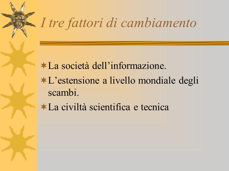 I tre fattori di cambiamento  La società dell'informazione.