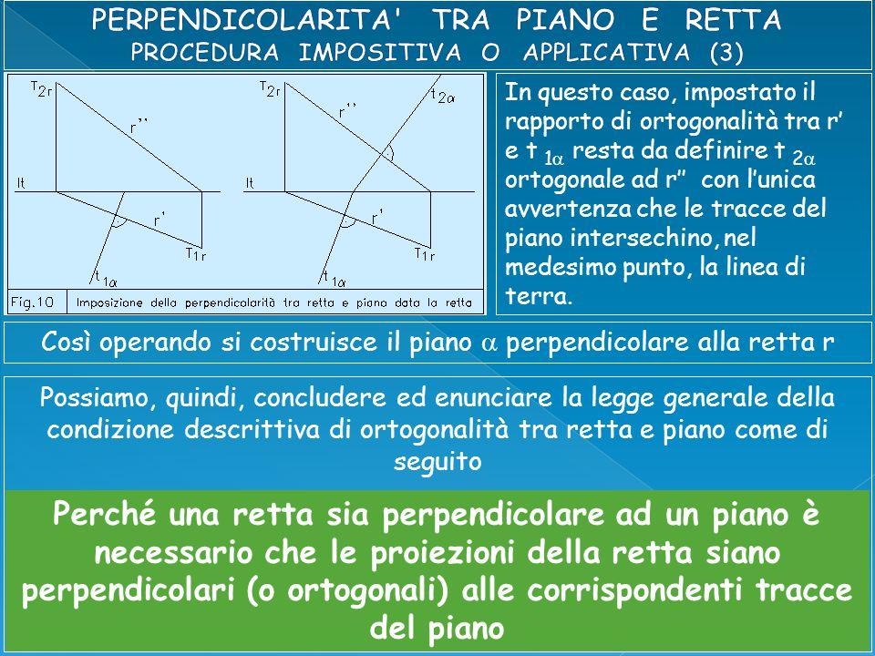 In questo caso, impostato il rapporto di ortogonalità tra r' e t 1  resta da definire t 2  ortogonale ad r'' con l'unica avvertenza che le tracce del piano intersechino, nel medesimo punto, la linea di terra.
