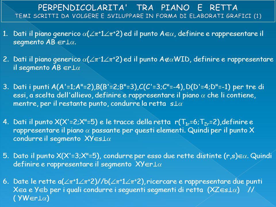 1.Dati il piano generico  (  + 1  + 2) ed il punto A , definire e rappresentare il segmento AB  r .