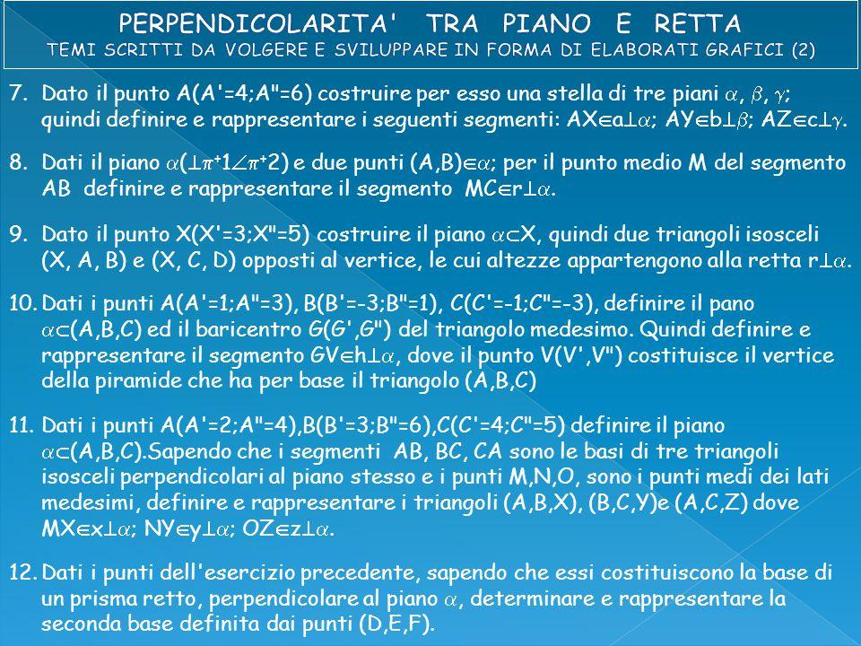 7.Dato il punto A(A =4;A =6) costruire per esso una stella di tre piani , ,  ; quindi definire e rappresentare i seguenti segmenti: AX  a  ; AY  b  ; AZ  c .