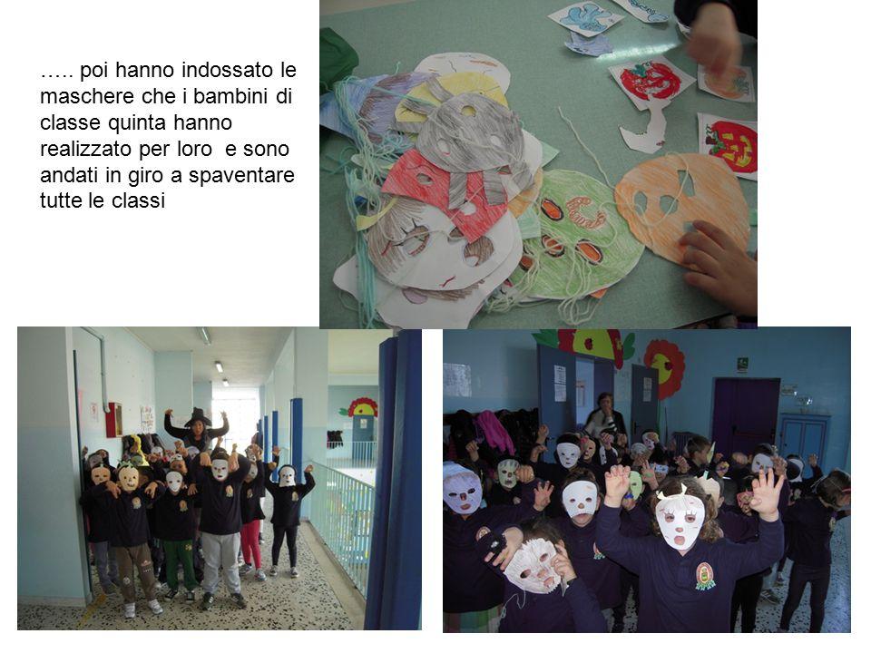 ….. poi hanno indossato le maschere che i bambini di classe quinta hanno realizzato per loro e sono andati in giro a spaventare tutte le classi