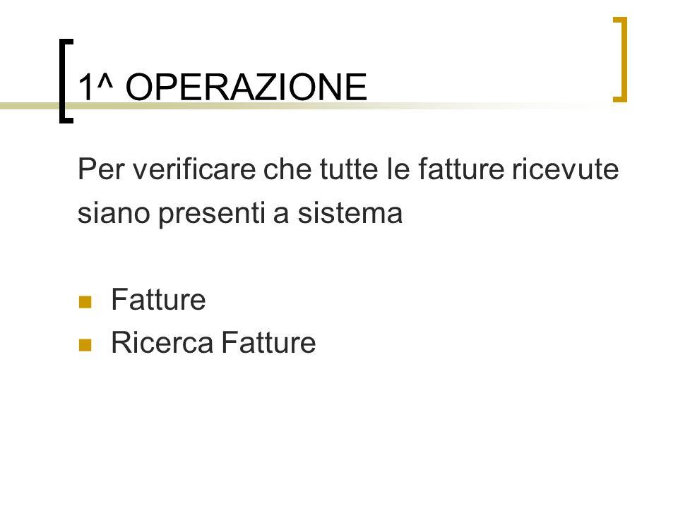 1^ OPERAZIONE Per verificare che tutte le fatture ricevute siano presenti a sistema Fatture Ricerca Fatture