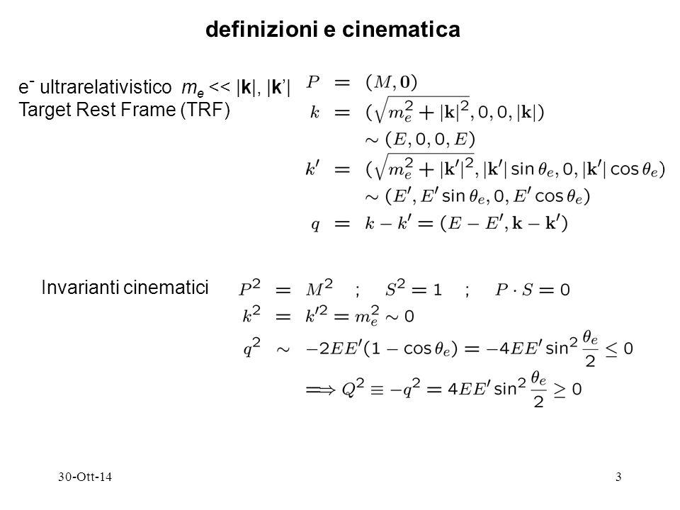 30-Ott-143 definizioni e cinematica e - ultrarelativistico m e << |k|, |k'| Target Rest Frame (TRF) Invarianti cinematici