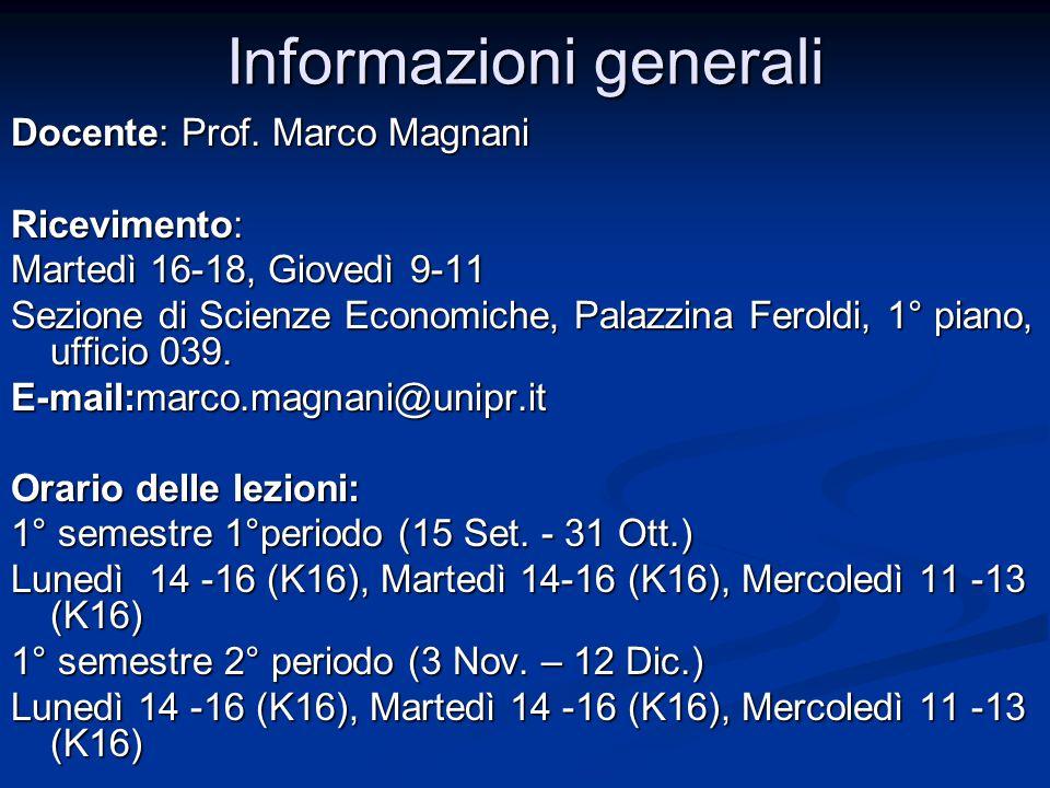 Informazioni generali Docente: Prof.