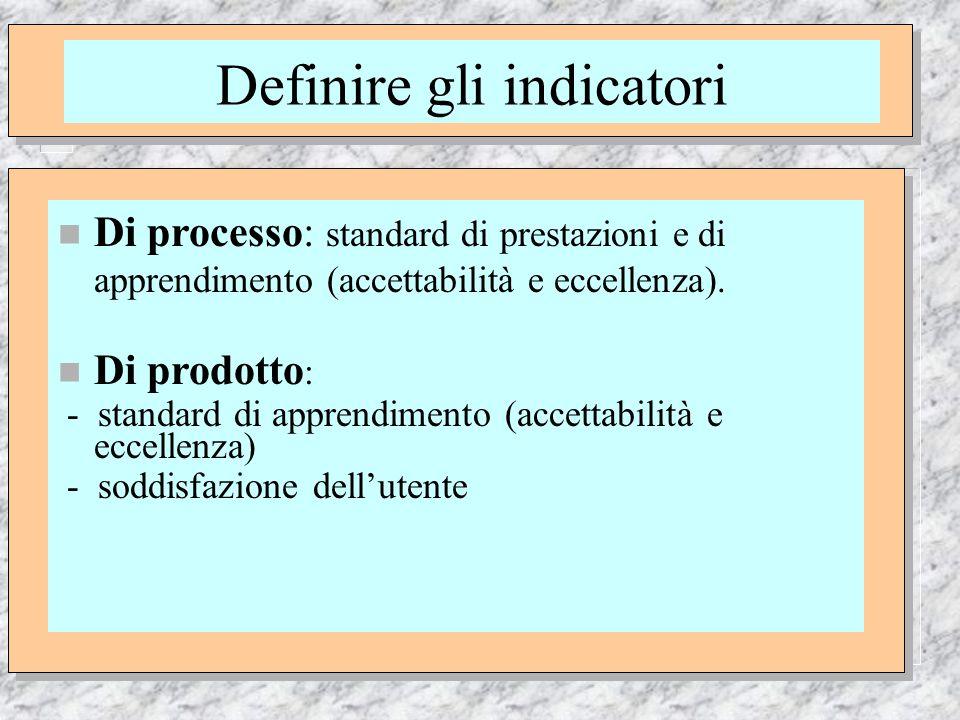 di Nevio Lo Martire Definire gli indicatori n Di processo: standard di prestazioni e di apprendimento (accettabilità e eccellenza).