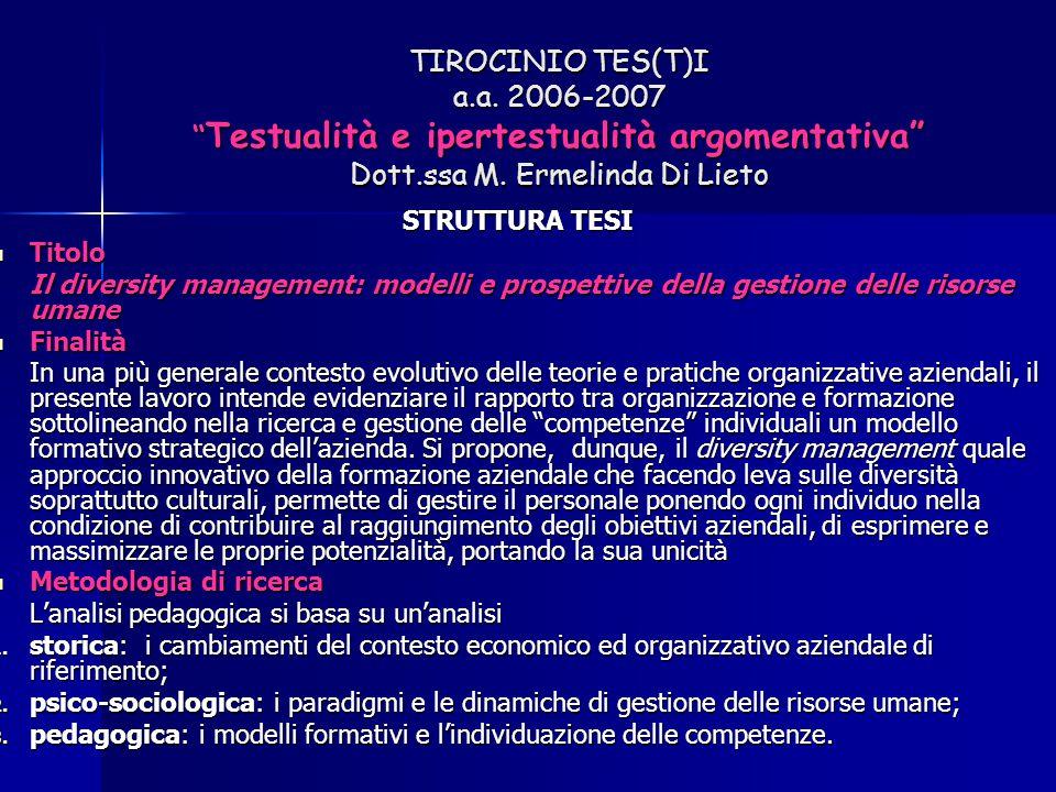 """TIROCINIO TES(T)I a.a. 2006-2007 """" Testualità e ipertestualità argomentativa"""" Dott.ssa M. Ermelinda Di Lieto STRUTTURA TESI Titolo Titolo Il diversity"""