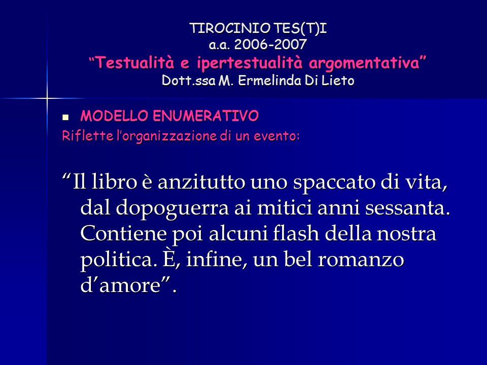 "TIROCINIO TES(T)I a.a. 2006-2007 "" Testualità e ipertestualità argomentativa"" Dott.ssa M. Ermelinda Di Lieto MODELLO ENUMERATIVO MODELLO ENUMERATIVO R"