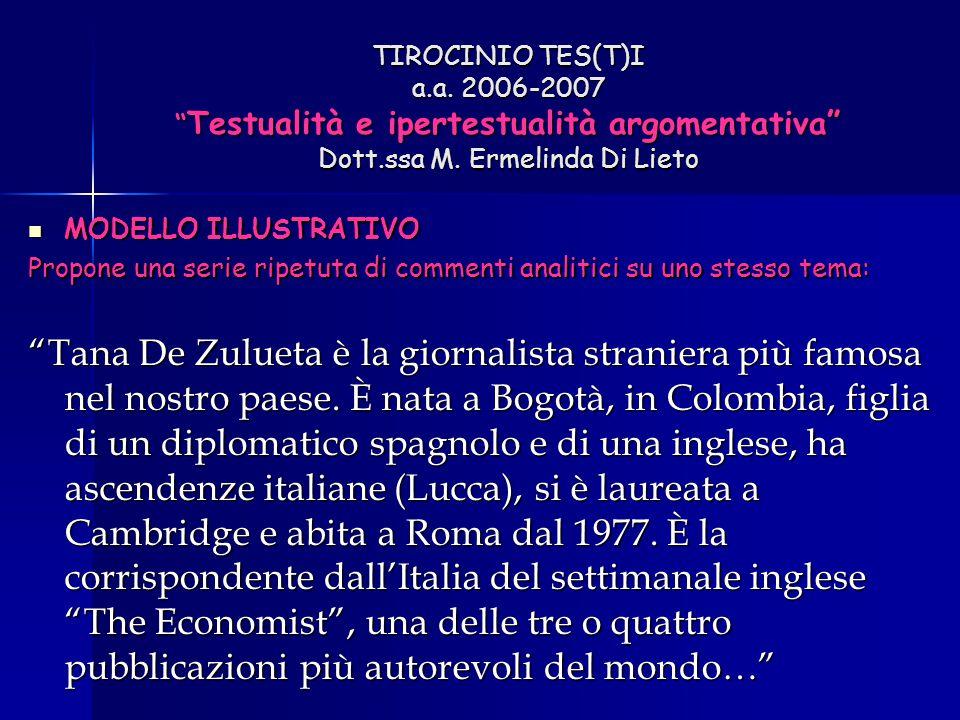 "TIROCINIO TES(T)I a.a. 2006-2007 "" Testualità e ipertestualità argomentativa"" Dott.ssa M. Ermelinda Di Lieto MODELLO ILLUSTRATIVO MODELLO ILLUSTRATIVO"
