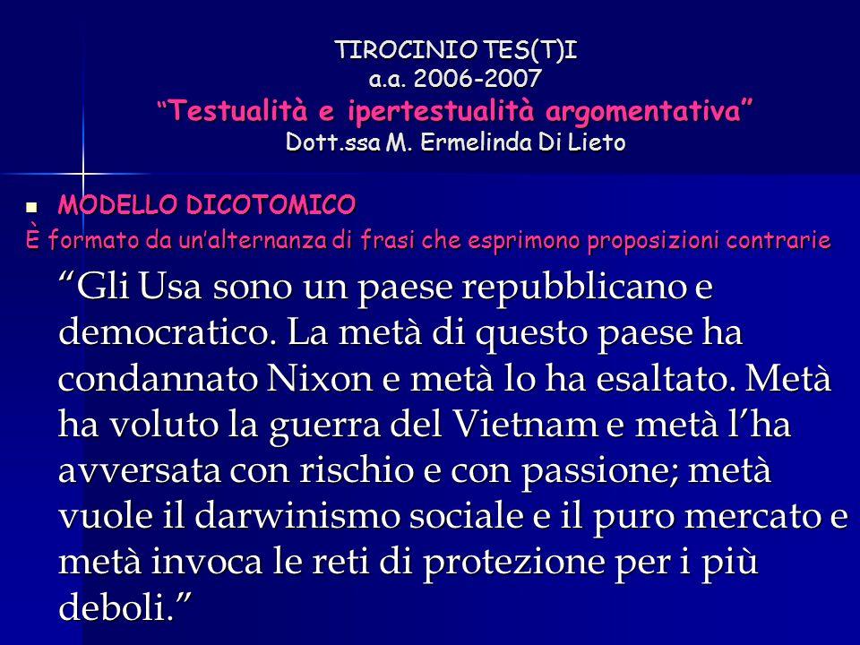 """TIROCINIO TES(T)I a.a. 2006-2007 """" Testualità e ipertestualità argomentativa"""" Dott.ssa M. Ermelinda Di Lieto MODELLO DICOTOMICO MODELLO DICOTOMICO È f"""