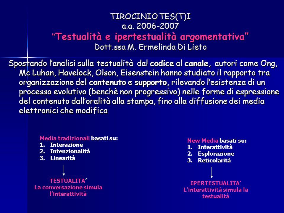 """TIROCINIO TES(T)I a.a. 2006-2007 """" Testualità e ipertestualità argomentativa"""" Dott.ssa M. Ermelinda Di Lieto Spostando l'analisi sulla testualità dal"""