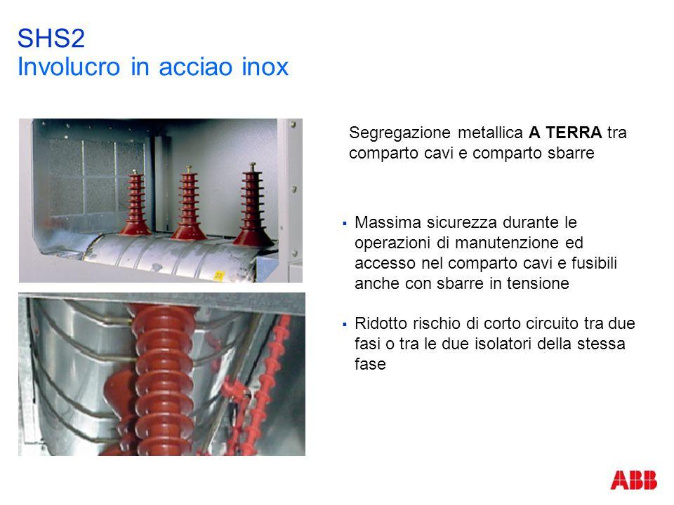 SHS2 Involucro in acciao inox  Massima sicurezza durante le operazioni di manutenzione ed accesso nel comparto cavi e fusibili anche con sbarre in te