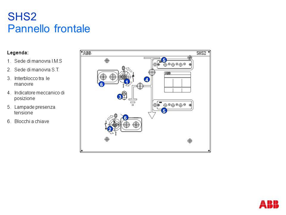 SHS2 Pannello frontale 2 6 3 6 1 4 5 5 Legenda: 1.Sede di manovra I.M.S 2.Sede di manovra S.T. 3.Interblocco tra le manovre 4.Indicatore meccanico di