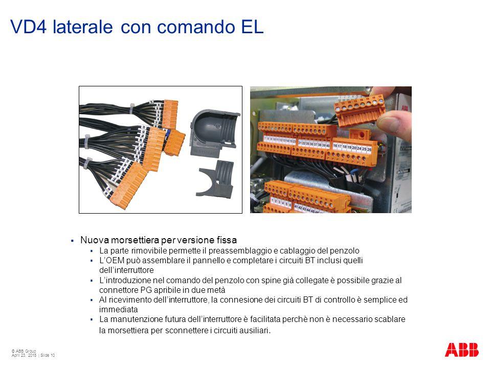 © ABB Group April 23, 2015 | Slide 10 VD4 laterale con comando EL  Nuova morsettiera per versione fissa  La parte rimovibile permette il preassembla