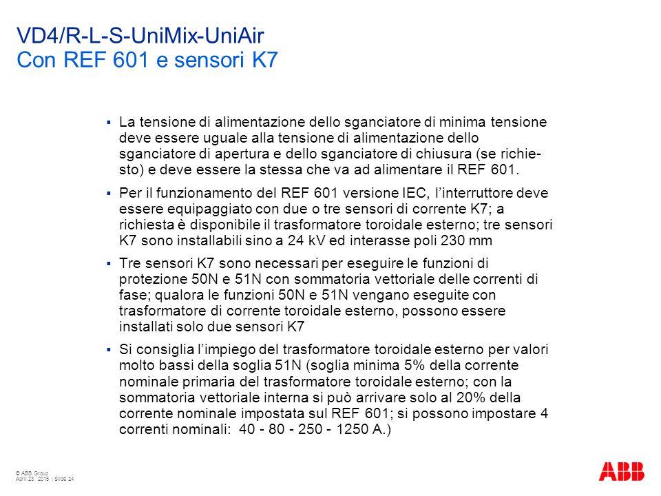 © ABB Group April 23, 2015 | Slide 24 VD4/R-L-S-UniMix-UniAir Con REF 601 e sensori K7  La tensione di alimentazione dello sganciatore di minima tensione deve essere uguale alla tensione di alimentazione dello sganciatore di apertura e dello sganciatore di chiusura (se richie- sto) e deve essere la stessa che va ad alimentare il REF 601.