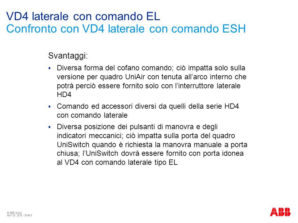 © ABB Group April 23, 2015 | Slide 8 VD4 laterale con comando EL Confronto con VD4 laterale con comando ESH Svantaggi:  Diversa forma del cofano coma